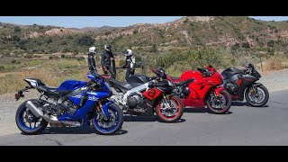 Yamaha YZF-R1 vs. Aprilia RSV4 RR vs. Suzuki GSX-R1000 vs. Honda CBR1000RR On The Street Review