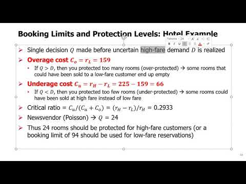 SCM Topic 7 - 5. Booking Limits and Protection Levels