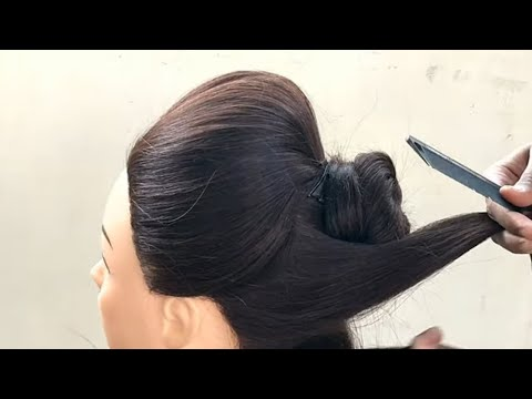 Beautiful Bun Hairstyle For Wedding and Function || Bun Hairstyle For Medium Hair thumbnail