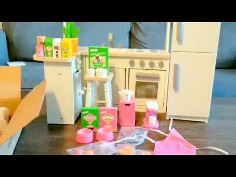 eimmie 18 inch doll kitchen set w refrigerator and accessories review youtube. Black Bedroom Furniture Sets. Home Design Ideas