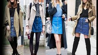 модные образы в джинсовой юбке осень 2019