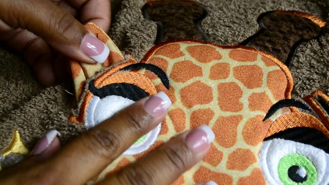 How to attach 3d ears to applique corner giraffe ears design youtube
