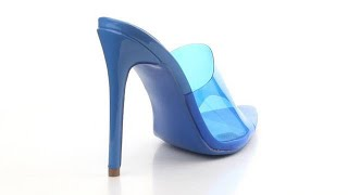 Pretty Girl - Bardi Blue Transparent Mule High Heel Sandal