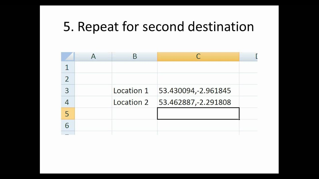 Calculate distance in Microsoft Excel using latitudes and longitudes