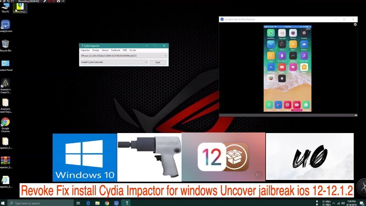 Revoke Fix install Cydia Impactor for windows Uncover jailbreak ios  12-12 1 2