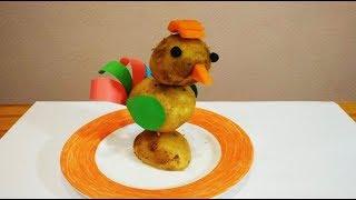 Как сделать петуха из картошки и морковки. Осенние поделки из овощей своими руками.