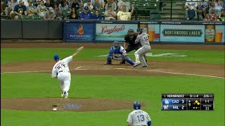 Kike Hernandez 3-Run Home Run vs Brewers | Dodgers vs Brewers