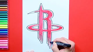 How to draw and color the Houston Rockets logo - NBA Team Series