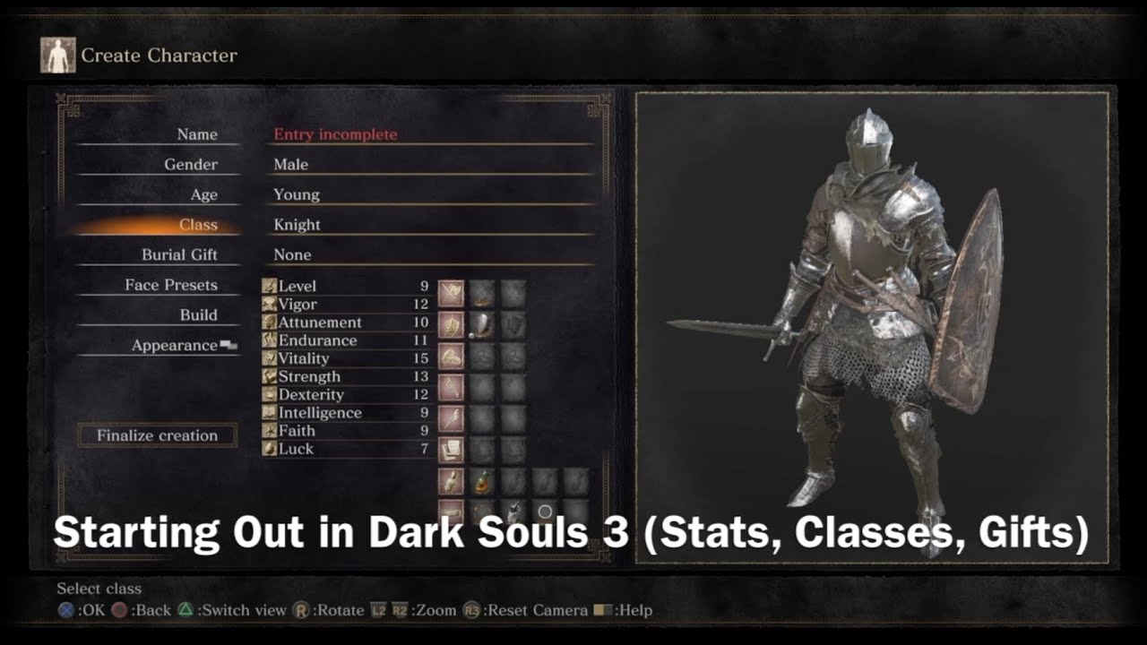 Starting Out in Dark Souls III | Stats, Classes, Gifts - YouTube