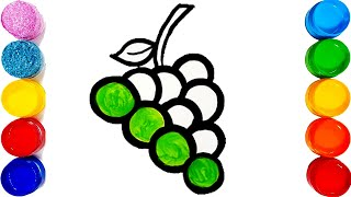 How To Draw Grapes\ Coloring Pages\Drawing Fruits For Kids ||TOO COLOUR||
