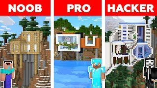 Minecraft NOOB vs PRO vs HACKER: MODERN MOUNTAIN HOUSE BUILD CHALLENGE in Minecraft / Animation