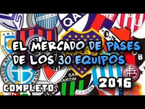 EL MERCADO DE PASES DE LOS 30 EQUIPOS DEL FÚTBOL ARGENTINO 2016/2017