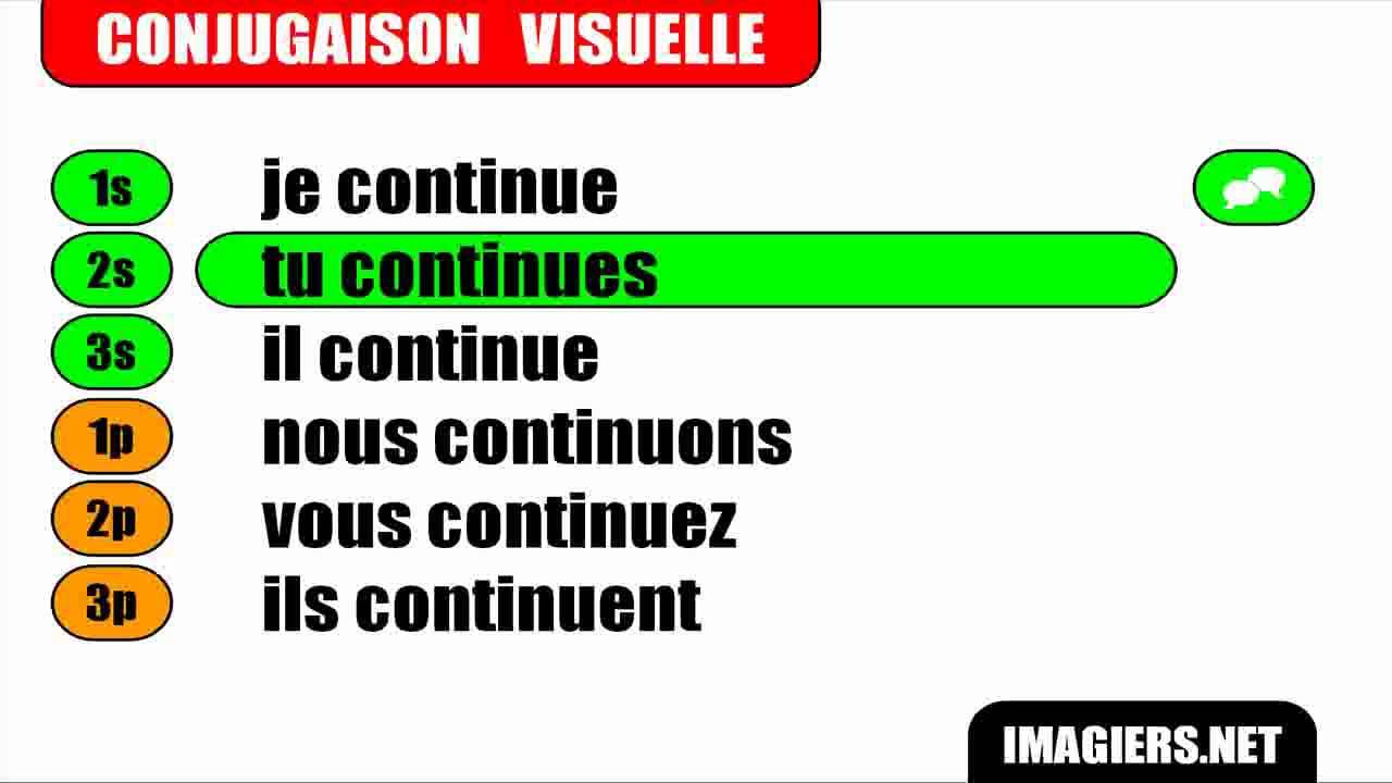 Conjugaison Indicatif Present Verbe Continuer Youtube