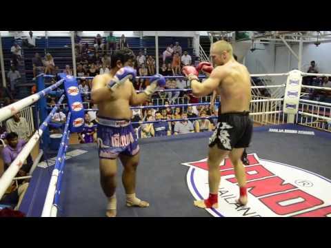 Knockout at Muay Thai fight Bangla boxing stadium Rob PhuketTopTeam Sweden vs Santiphab Thailand