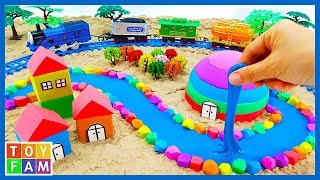Learn Colors and Making Castle in the Desert, Railway with Kinetic Sand, Mad Mattr, Slime | ToyFAM