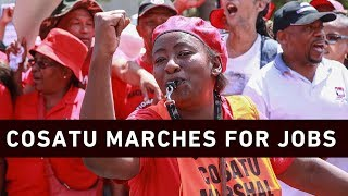 About 1,000 people marched to Parliament ahead of Wednesday Budget speech by Finance Minister Tito Mboweni.  Click here to subscribe to Eyewitness news:http://bit.ly/EWNSubscribe  Like and follow us on:http://bit.ly/EWNFacebook ANDhttps://twitter.com/ewnupdates  Read full article on Eyewitness news: https://ewn.co.za/2019/02/19/cosatu-takes-job-losses-concerns-to-parliament  Keep up to date with all your local and international news:www.ewn.co.za  Produced by:  Cindy Archillies