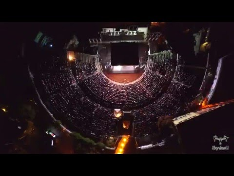 Concert of 2Cellos Live, shot with a drone, at the Ancient Theatre in Plovdiv, DJI Inspire 1