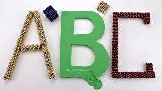 Aprender Inglés Alfabeto y Colores con Bolas Magneticas y Arena Cinética DIY Cómo hacer ABC letras