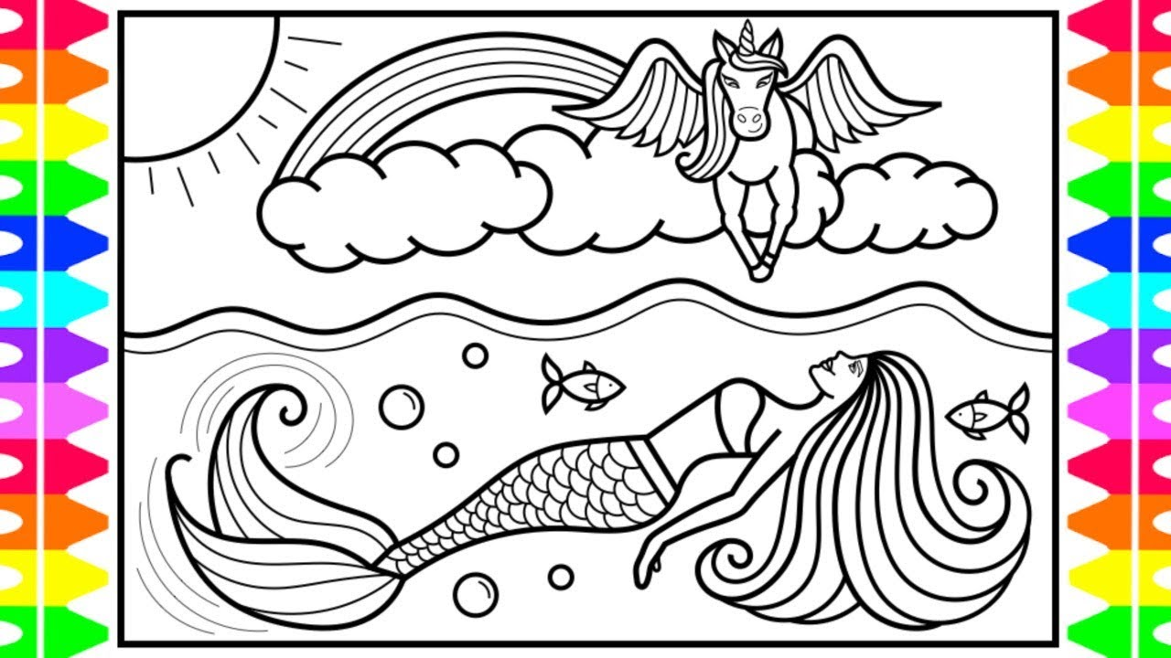 Coloring Pages Unicorn Mermaid