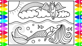 How to Draw a Mermaid and Unicorn for Kids 💜💚💛💗Mermaid and Unicorn Drawing and Coloring Pages