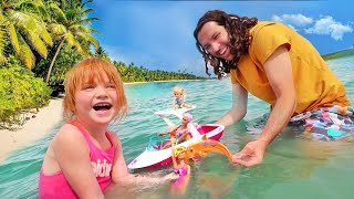BARBiE BEACH DAY with Adley!!  Dream Dolphin Buried in the Sand! family pretend play inside water!
