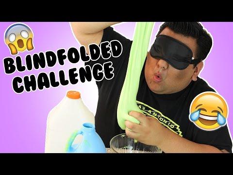 MAKING SLIME BLINDFOLDED CHALLENGE - HOW TO MAKE BUTTER SLIME! - SLIME CHALLENGE!!!