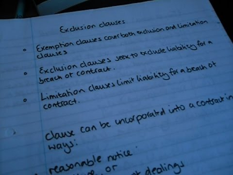 Exclusion clauses - contract law