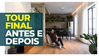 TOUR FINAL DO APARTAMENTO - ANTES E DEPOIS DO LOFT COM 3 LUZES DIFERENTES DO DIA