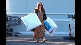 Isla Fisher shops for some new pillows at Bed Bath & Beyond in Studio City