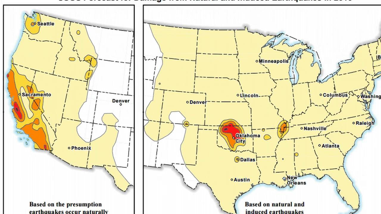 New EQ Hazard Forecast  Earthquakes Hit Between  Volcanoes In - Map of us after new madrid earthquake