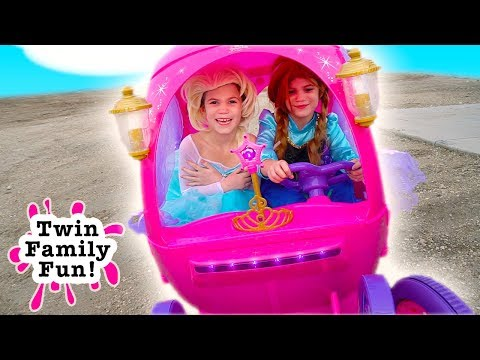 Elsa & Anna Bloopers, Outtakes and Behind the Scenes - Fun with Princess Carriage Power Wheels!