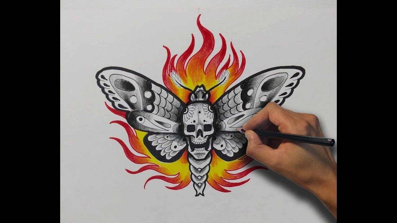 Calavera Tattoo Flash diseño neotradicional / neo traditional design polilla / moth - nosfe ink  tattoo