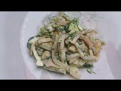 Готовим самый вкусный салат с кальмарами