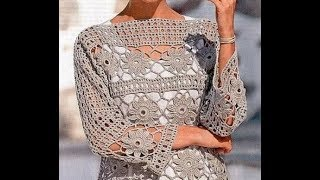 tutorial crochet  blusa  flores how to do bluse (subtitles in several lenguage) thumbnail