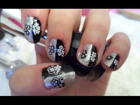 diseño en negro y plata con pegatinas, Tutorial uñas - YouTube