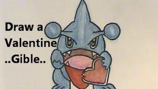 Oh no! Draw GIBLE Eats His Valentine! Pokemon Tutorial