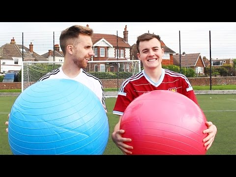 EXERCISE BALL FOOTBALL CHALLENGE!!!