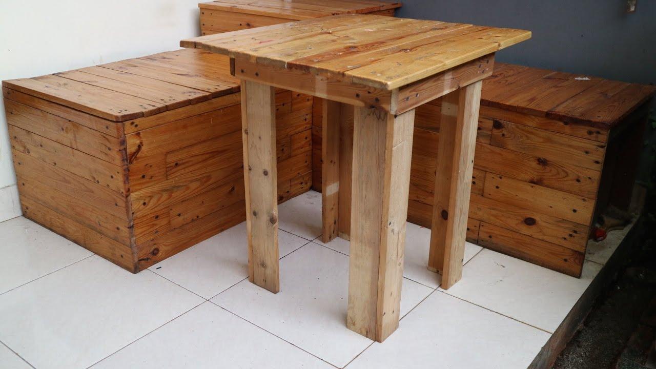 Membuat Meja Dari Kayu Palet Atau Jati Belanda Youtube