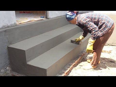 Amazing Techniques Construction Rendering Sand and Cement For Brick Steps