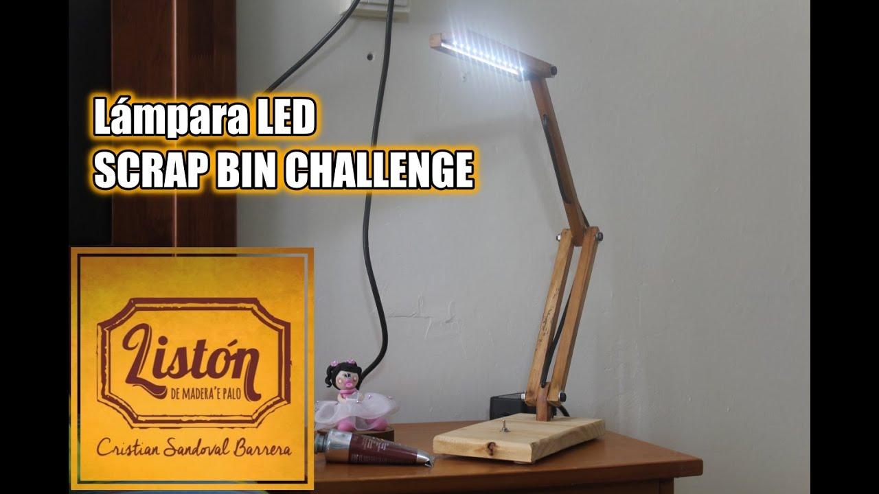 lamparas de madera list n de madera 39 e palo ep 2 l mpara led scrap bin challenge youtube