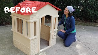 BEFORE and AFTER: DIY Playhouse Makeover #2! - Thrift Diving