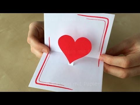 Basteln Mit Papier Diy Pop Up Karte Herz Basteln Ideen Diy