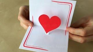 Basteln mit Papier: DIY Pop Up Karte: Herz ❤ Basteln Ideen: Geschenk selber machen