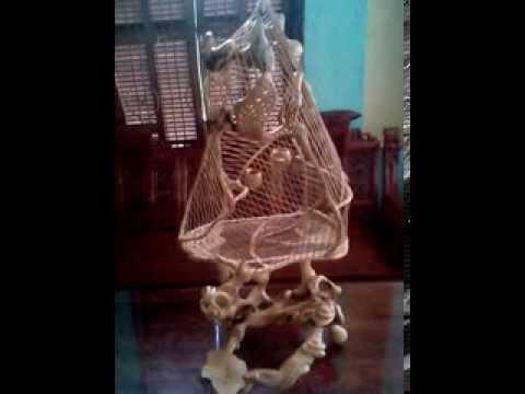 Lồng chim gỗ trai nguyên khối