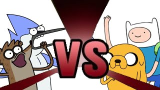 MORDECAI and RIGBY vs FINN and JAKE! Cartoon Fight Club Episode 2
