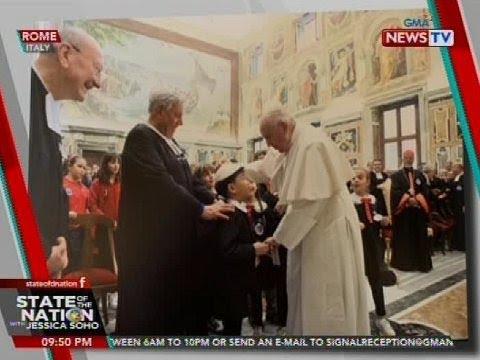 SONA: Pope Francis, ibinigay ang kaniyang papal cap sa batang Pinoy na nag-aaral sa Roma