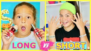 SUPER LONG NAILS VS SHORT NAILS MAKEUP CHALLENGE | SISTER FOREVER