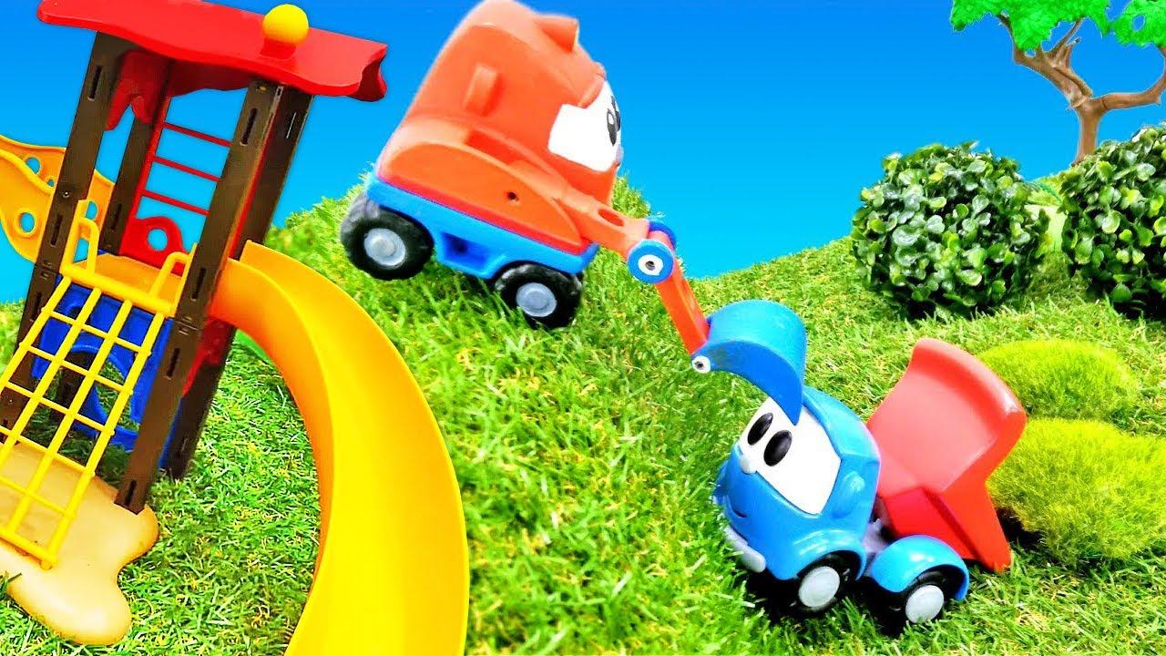 Léo o caminhão constrói os parquinhos! Vídeo com carrinhos de brinquedo para crianças em português
