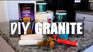 DIY Faux Granite Countertops: UNDER $40!