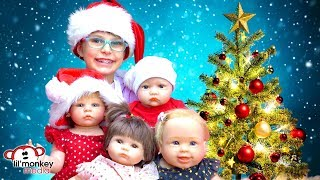 👶� My Reborns! Trip to Santa!  Adeline, Hunter, Ireland & Katelyn Visit Santa! 🎄